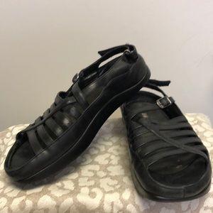 Black Twist Leather Sandal